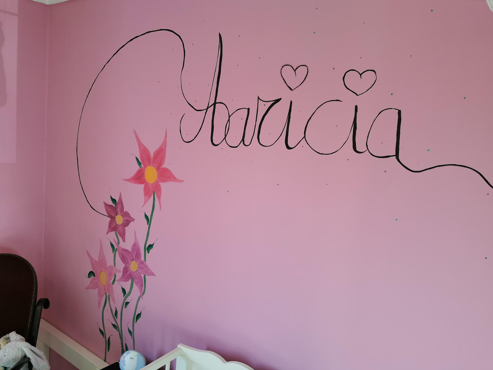 muurschildering met naam