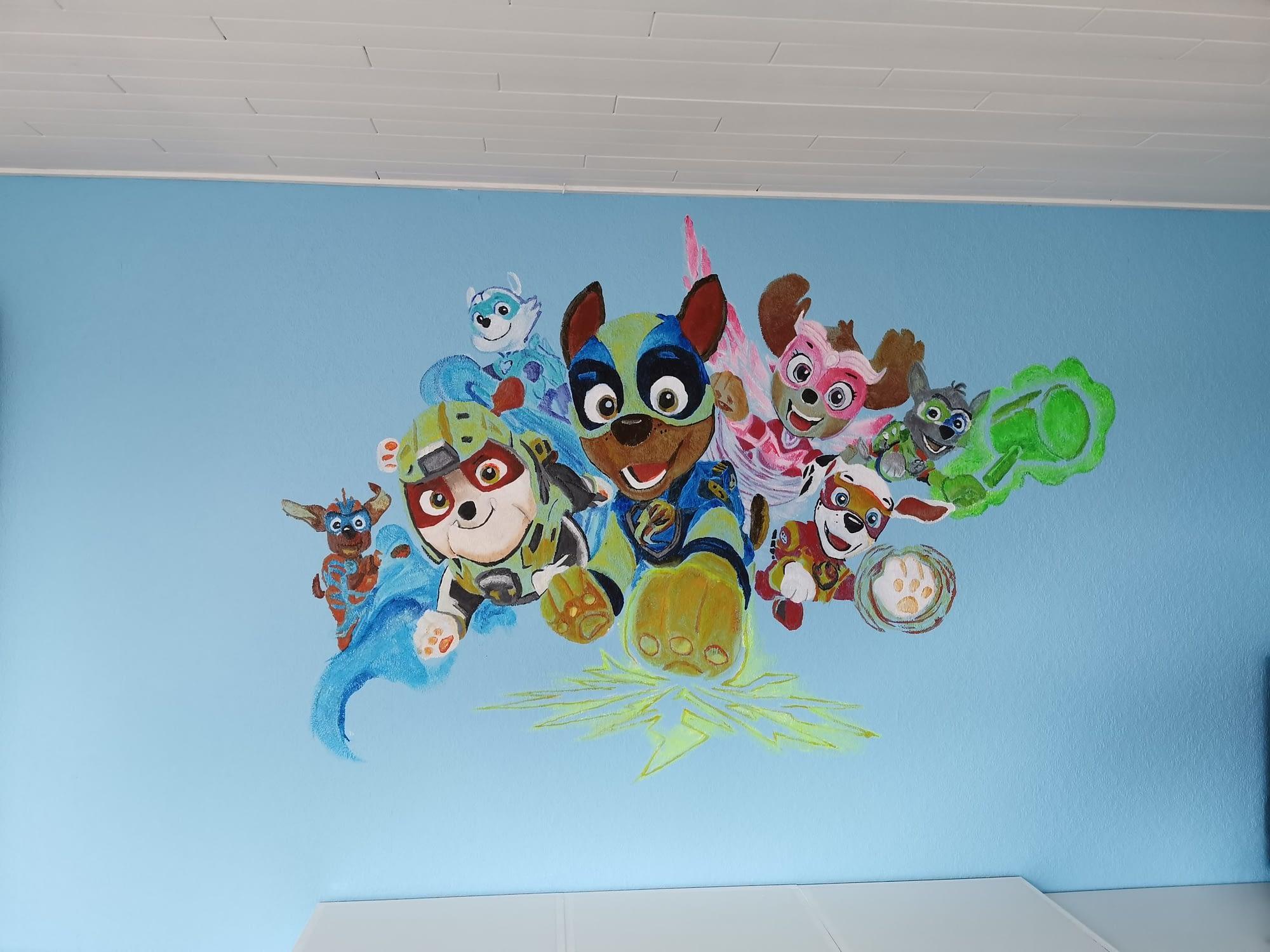Paw patrol mighty pups muurschildering